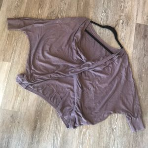 Mauve Gray Cross Detail Pull Over Sweater
